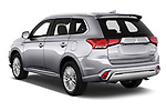 Car pictures of rear three quarter view of a 2019 Mitsubishi Outlander PHEV Intense 5 Door SUV angular rear