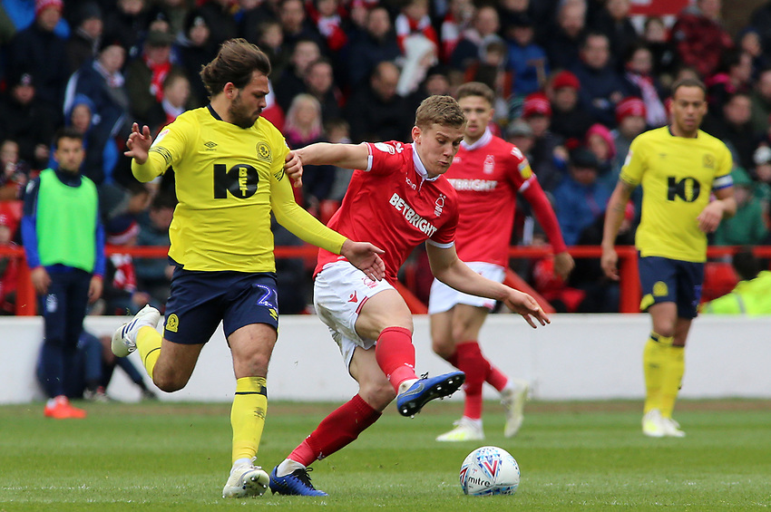Blackburn Rovers' Bradley Dack chases down Nottingham Forest's Ryan Yates<br /> <br /> Photographer David Shipman/CameraSport<br /> <br /> The EFL Sky Bet Championship - Nottingham Forest v Blackburn Rovers - Saturday 13th April 2019 - The City Ground - Nottingham<br /> <br /> World Copyright © 2019 CameraSport. All rights reserved. 43 Linden Ave. Countesthorpe. Leicester. England. LE8 5PG - Tel: +44 (0) 116 277 4147 - admin@camerasport.com - www.camerasport.com