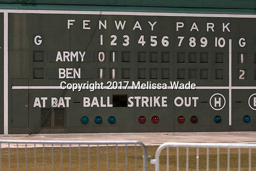 Scoreboard on the Green Monster - The Bentley University Falcons defeated the Army West Point Black Knights 3-1 (EN) on Thursday, January 5, 2017, at Fenway Park in Boston, Massachusetts.The Bentley University Falcons defeated the Army West Point Black Knights 3-1 (EN) on Thursday, January 5, 2017, at Fenway Park in Boston, Massachusetts.