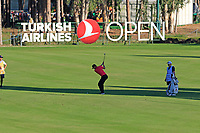 Lucas Bjerregaard (DEN) plays his 2nd shot on the 18th hole during Thursday's Round 1 of the 2018 Turkish Airlines Open hosted by Regnum Carya Golf &amp; Spa Resort, Antalya, Turkey. 1st November 2018.<br /> Picture: Eoin Clarke | Golffile<br /> <br /> <br /> All photos usage must carry mandatory copyright credit (&copy; Golffile | Eoin Clarke)