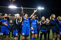 Seattle, WA - Sunday, September 11 2016: Seattle Reign FC midfielder Keelin Winters (11) thanks the fans after her last home game with Seattle Reign FC. Seattle won 2-0 against Washington Spirit.