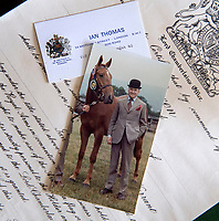 BNPS.co.uk (01202 558833)<br /> Pic: PhilYeomans/BNPS<br /> <br /> Like the Queen, Thomas was keen on the horses.<br /> <br /> A remarkable 'time warp' Royal archive amassed by the Queen's dressmaker has been found inside his old country home.<br /> <br /> The late Ian Thomas was a dress designer for members of the Royal Family, including Her Majesty, for over 30 years.<br /> <br /> As an apprentice he worked alongside the renowned fashion designer Norman Hartnell on creating the Queen's coronation dress in 1953.<br /> <br /> His archive includes embroidered samples of the gown worn by Elizabeth II for the historic ceremony in Westminster Abbey that was broadcast to millions.<br /> <br /> Mr Thomas also designed outfits for the Queen Mother and Princess Margaret.