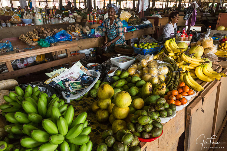 Tropical fruits for sale in the open market in Paramaribo, Suriname.