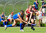 MOENCHENGLADBACH, GERMANY - AUGUST 02: 13-16th classification game between Canada (red) and Russia (blue) during the Hockey Junior World Cup at the Warsteiner HockeyPark on August 02, 2013 in Moenchengladbach, Germany. Final score 5-1. (Photo by Dirk Markgraf/www.265-images.com) *** Local caption ***
