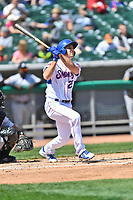 Tennessee Smokies third baseman Jason Vosler (22) swings at a pitch during a game against the Jackson Generals at Smokies Stadium on April 11, 2018 in Kodak, Tennessee. The Generals defeated the Smokies 6-4. (Tony Farlow/Four Seam Images)
