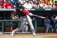 Louisville outfielder Adam Engel (10) swings the bat against the Oregon State Beavers during Game 5 of the 2013 Men's College World Series on June 17, 2013 at TD Ameritrade Park in Omaha, Nebraska. The Beavers defeated Cardinals 11-4, eliminating Louisville from the tournament. (Andrew Woolley/Four Seam Images)