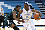 09 November 2015: North Carolina's Jamie Cherry (10) and Mount Olive's Tommarah Harris (left). The University of North Carolina Tar Heels hosted the University of Mount Olive Trojans at Carmichael Arena in Chapel Hill, North Carolina in a 2015-16 NCAA Women's Basketball exhibition game. UNC won the game 99-45.