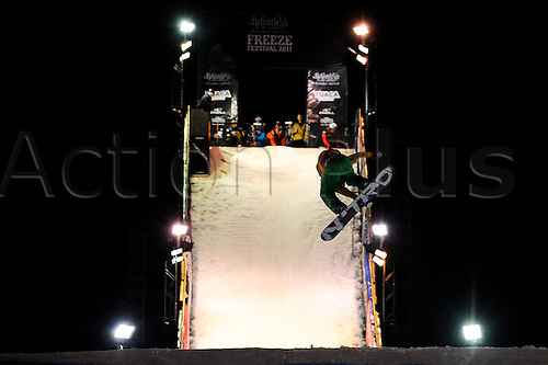 28.10.2011 London, England. Boarders in action during the FIS Snowboard practice at the Relentless Energy Drink Freeze Festival at Battersea Power Station. Mandatory credit: ActionPlus