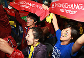 July 6th 2011, PYEONGCHANG, South Korea; South Koreans cheer and applaud as Pyeongchang becomes the host ofor the 2018 Winter Olympic Games at Alpensia Ski-Jumping stadium in Pyeongchang, Gangwon-do province South Korea