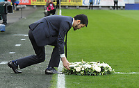 A wreath is laid in memory of Vichai Srivaddhanaprabha<br /> <br /> Photographer Kevin Barnes/CameraSport<br /> <br /> The Premier League -  Cardiff City v Leicester City - Saturday 3rd November 2018 - Cardiff City Stadium - Cardiff<br /> <br /> World Copyright © 2018 CameraSport. All rights reserved. 43 Linden Ave. Countesthorpe. Leicester. England. LE8 5PG - Tel: +44 (0) 116 277 4147 - admin@camerasport.com - www.camerasport.com