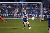 Kansas City, MO - Saturday May 07, 2016: FC Kansas City defender Becky Sauerbrunn (4) against Houston Dash during a regular season National Women's Soccer League (NWSL) match at Swope Soccer Village. Houston won 2-1.