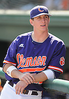 First baseman Jon McGibbon (12) of the Clemson Tigers in a game against the Michigan State Spartans on Sunday, Feb. 27, 2011, at Fluor Field in Greenville, S.C. Photo by Tom Priddy/Four Seam Images