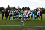 Hibernian and Edinburgh City players pose for a joint team photo before a pre-season friendly at Meadowbank Stadium. The match was City's first at the Commonwealth Stadium since they gained promotion from the Lowland League to the Scottish League in May 2016. A record crowd for a City match of 2500 spectators saw the visitors run out 6-1 winners.