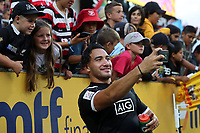 Teddy Stanaway mingles with fans on day two of the 2018 HSBC World Sevens Series Hamilton at FMG Stadium in Hamilton, New Zealand on Sunday, 4 February 2018. Photo: Shane Wenzlick / lintottphoto.co.nz