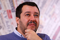 Il segretario della Lega Nord Matteo Salvini tiene una conferenza stampa all'Associazione della Stampa Estera a Roma, 10 dicembre 2014.<br /> Lega Nord's leader Matteo Salvini attends a press conference at the Foreign Press association in Rome 10 December 2014.<br /> UPDATE IMAGES PRESS/Riccardo De Luca