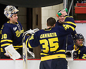 Joe Cannata (Merrimack - 35) takes a break at the bench during Harvard's timeout. - The visiting Merrimack College Warriors defeated the Harvard University Crimson 3-1 (EN) at Bright Hockey Center on Tuesday, November 30, 2010.