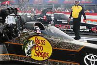 Apr 24, 2015; Baytown, TX, USA; NHRA  top fuel driver Shawn Langdon during qualifying for the Spring Nationals at Royal Purple Raceway. Mandatory Credit: Mark J. Rebilas-