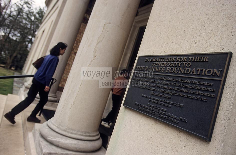 Amérique/Amérique du Nord/USA/Etats-Unis/Vallée du Delaware/Pennsylvanie/Philadelphie : La fondation Barnes une des plus grande collections privées au monde de peintures françaises impressionnistes et post impressionnistes - Portail d'entrée