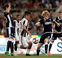 Calcio, Tim Cup: finale Juventus vs Lazio. Roma, stadio Olimpico, 17 maggio 2017.<br /> Juventus' Paulo Dybala, center, is challenged by Lazio's Lucas Biglia, left, and Dusan Basta, during the Italian Cup football final match between Juventus and Lazio at Rome's Olympic stadium, 17 May 2017.<br /> UPDATE IMAGES PRESS/Isabella Bonotto