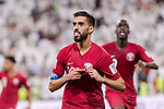 Hasan Al Haydos of Qatar celebrating his score during the AFC Asian Cup UAE 2019 Semi Finals match between Qatar (QAT) and United Arab Emirates (UAE) at Mohammed Bin Zaied Stadium  on 29 January 2019 in Abu Dhabi, United Arab Emirates. Photo by Marcio Rodrigo Machado / Power Sport Images