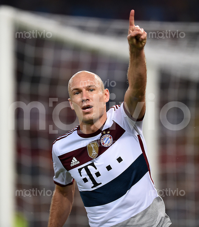 FUSSBALL   CHAMPIONS LEAGUE   SAISON 2014/2015   Vorrunde AS Rom - FC Bayern Muenchen        21.10.2014 Torjubel: Arjen Robben (FC Bayern Muenchen)