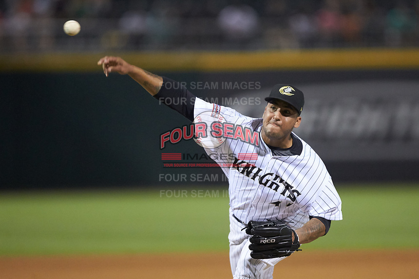 Charlotte Knights relief pitcher Gregory Infante (45) delivers a pitch to the plate against the Indianapolis Indians at BB&T BallPark on May 26, 2018 in Charlotte, North Carolina. The Indians defeated the Knights 6-2.  (Brian Westerholt/Four Seam Images)
