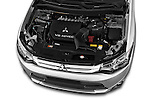 Car Stock 2015 Mitsubishi Outlander GT 4WD 5 Door SUV Engine high angle detail view