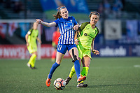 Boston, MA - Saturday April 29, 2017: Rose Lavelle and Christine Nairn during a regular season National Women's Soccer League (NWSL) match between the Boston Breakers and Seattle Reign FC at Jordan Field.