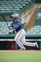 GCL Braves Joel Reyes (2) bats during a Gulf Coast League game against the GCL Orioles on August 5, 2019 at Ed Smith Stadium in Sarasota, Florida.  GCL Orioles defeated the GCL Braves 4-3 in the first game of a doubleheader.  (Mike Janes/Four Seam Images)