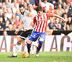 Valencia CF's   Alvaro Negredo and Sporting de Gijon's Jorge Mere  during La Liga match. January 31, 2016. (ALTERPHOTOS/Javier Comos)