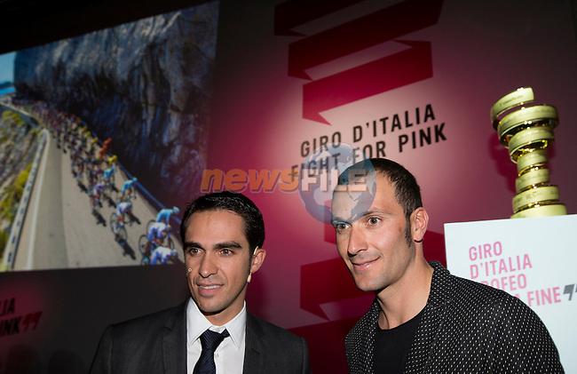 Defending Giro Champion Alberto Contador (ESP) and Ivan Basso (ITA) at the Giro d'Italia 2016 Presentation held at Expo Milano, Milan, Italy. 5th October 2015.<br /> Picture: ANSA/Claudio Peri | Newsfile