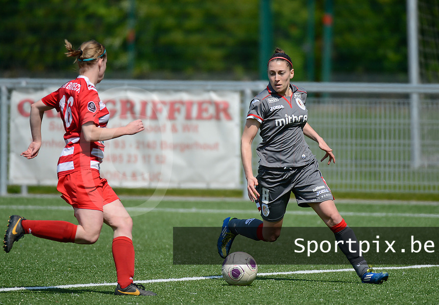 20140419 - ANTWERPEN , BELGIUM : Standard's Audrey Demoustier pictured during the soccer match between the women teams of RAFC Antwerp Ladies  and Standard Femina  , on the 24th matchday of the BeNeleague competition on Saturday 19 April 2014 in Deurne .  PHOTO DAVID CATRY