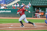 Joshua Banuelos (27) of the Idaho Falls Chukars at bat against the Ogden Raptors in Pioneer League action at Lindquist Field on August 26, 2015 in Ogden, Utah. Ogden defeated the Chukars 5-1.  (Stephen Smith/Four Seam Images)