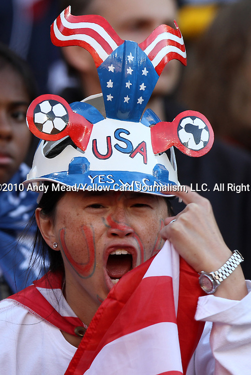 18 JUN 2010: U.S. fan. The Slovenia National Team played the United States National Team to a 2-2 at Ellis Park Stadium in Johannesburg, South Africa in a 2010 FIFA World Cup Group C match.