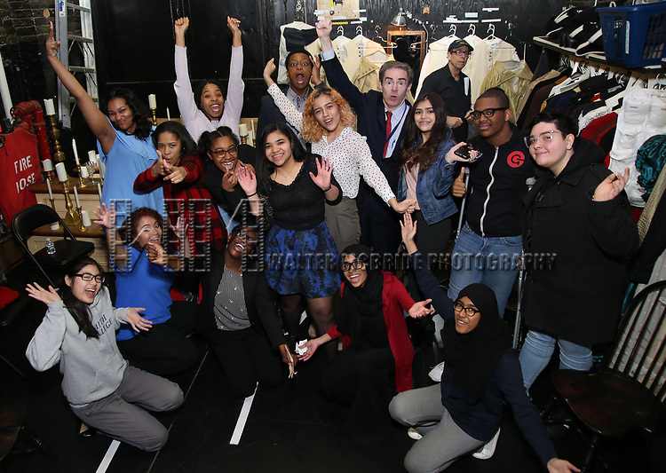 """J. Quinton Johnson and James G. Basker with High School student performers before The Rockefeller Foundation and The Gilder Lehrman Institute of American History sponsored High School student #EduHam matinee performance of """"Hamilton"""" at the Richard Rodgers Theatre on 3/28/2018 in New York City."""