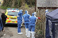 "Pictured: Police and forensics officers at the house in Aberaeron, where the remains of a woman have been discovered in Ceredigion County, Wales, UK. Wednesday 21 March 2018<br /> Re: Human remains have been found in a house following a police investigation to find a missing woman.<br /> Police were called to the property in Aberaeron, west Wales after a woman in her 50s collapsed.<br /> Police also discovered the woman's mother, in her 80s, who had not been seen for some time.<br /> The women were named locally as Gaynor and Valerie Jones, with police currently treating the death as unexplained.<br /> The two women have ben described as ""reclusive"" by neighbours and the home they shared as being ""heavily cluttered""."