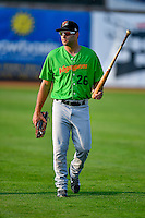 Jackson Glines (26) of the Great Falls Voyagers walks onto the field before the game against the Ogden Raptors in Pioneer League action at Lindquist Field on August 18, 2016 in Ogden, Utah. Ogden defeated Great Falls 10-6. (Stephen Smith/Four Seam Images)