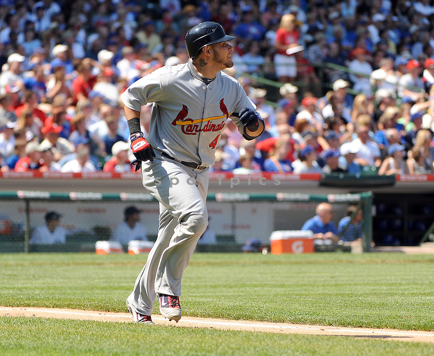 YADIER MOLINA, of the St. Louis Cardinals, in action during the Cardinals game against the Chicago Cubs on August 19, 20011, at Wrigley Field in Chicago, Illinois. The Cubs beat the Cardinals 5-4