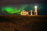 Northern lights at Grótta lighthouse, southwest Iceland