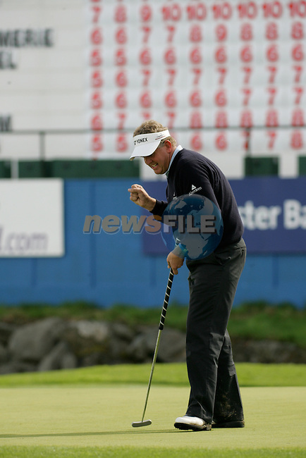 Day 4 of the Smurfit Kappa European Open in the K Club in Straffin Co Kildare Ireland. 8/7/07.Colin Montgomerie celebrates after his final putt on the 18th during the final round of the Smurfit Kappa European Open...Photo: Newsfile/Fran Caffrey.
