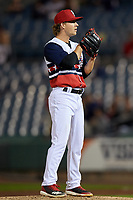Syracuse Chiefs relief pitcher Trevor Gott (15) looks in for the sign during a game against the Scranton/Wilkes-Barre RailRiders on June 14, 2018 at NBT Bank Stadium in Syracuse, New York.  Scranton/Wilkes-Barre defeated Syracuse 9-5.  (Mike Janes/Four Seam Images)
