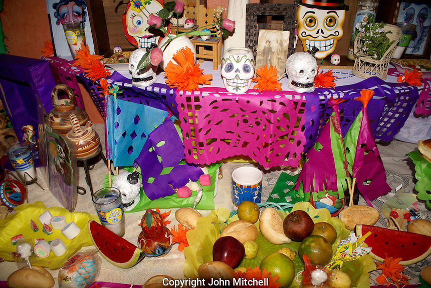 Decorated Mexican Day of the Dead or Dia de los Muertos altar, Mazatlan, Sinaloa, Mexico