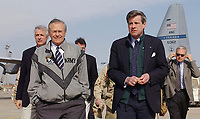 Baghdad International Airport , IRAQ - February 23, 2004 - File Photo<br /> US Secretary of Defense (SECDEF) the honorable Donald H. Rumsfeld is accompanied by US Ambassador to Iraq (IRQ) L. Paul Bremer III at Baghdad International Airport (BIA), during Operation IRAQI FREEDOM.