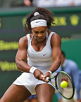 England, London, Juli 06, 2015, Tennis, Wimbledon, De sisters Venus and Serena Williams (USA) playing eachother on centercourt, pictured: Serena Willams<br /> Photo: Tennisimages/Henk Koster