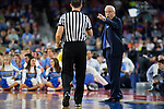 02 APR 2016: Head Coach Roy Williams of the University of North Carolina yells to the referee during the game against Syracuse University during the 2016 NCAA Men's Division I Basketball Final Four Semifinal game held at NRG Stadium in Houston, TX. North Carolina defeated Syracuse 83-66 to advance to the championship game.  Brett Wilhelm/NCAA Photos