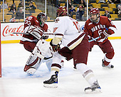 Kyle Richter (Harvard - 33), Jimmy Hayes (BC - 10), Ryan Grimshaw (Harvard - 6) - The Boston College Eagles defeated the Harvard University Crimson 6-0 on Monday, February 1, 2010, in the first round of the 2010 Beanpot at the TD Garden in Boston, Massachusetts.