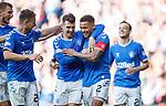 28.09.2018 Rangers v Aberdeen: Ryan Jack congratulates captain James Tavernier