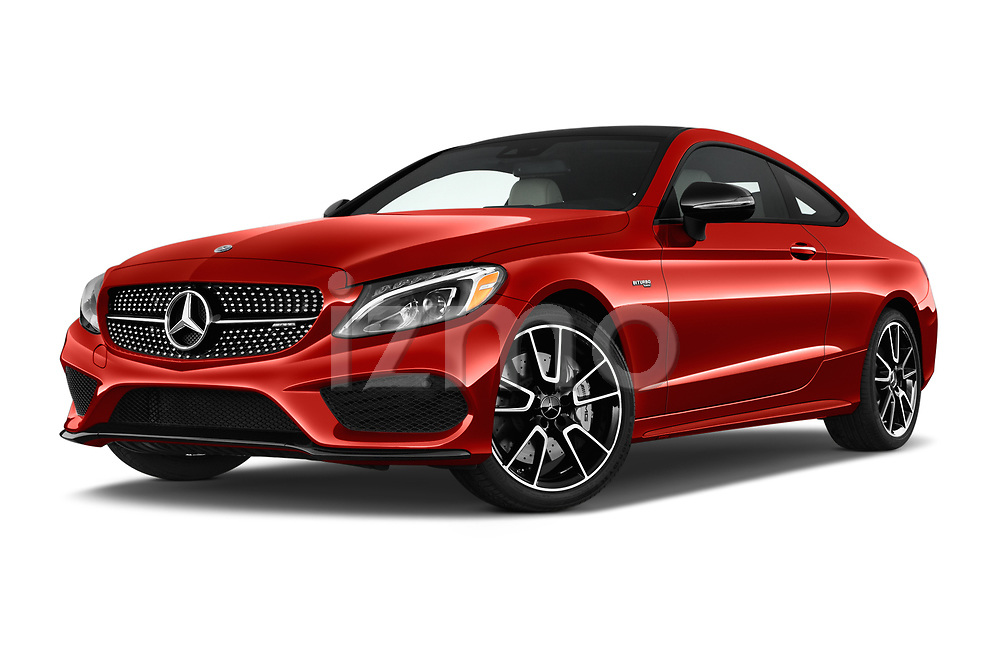 Stock pictures of low aggressive front three quarter view of 2017 Mercedes Benz C-Class AMG-C43 2 Door Coupe Low Aggressive