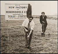 BNPS.co.uk (01202 558833)<br /> Pic: PhilYeomans/BNPS<br /> <br /> Freddie Francis cuts the turf at the original Havant factory.<br /> <br /> These fascinating photos tell the story of 60 years of Scalextric which grew from humble beginnings into a British institution. <br /> <br /> When enterprising Freddie Francis launched the car racing toy in 1957 at his factory in Havant, Hants, he could never have known they would still be a household name 60 years later.<br /> <br /> Today, Scalextric are produced by English toy maker Hornby Hobbies and demand for the much-loved slot cars is still as strong as ever.