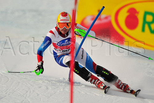 January 29, 2010: Nadja Kamer of Switzerland during the slalom portion of the Super Combined event at the Women's FIS Ski World Cup race in St. Moritz, Switzerland.... Photo CalSport/Actionplus - Editorial Use...